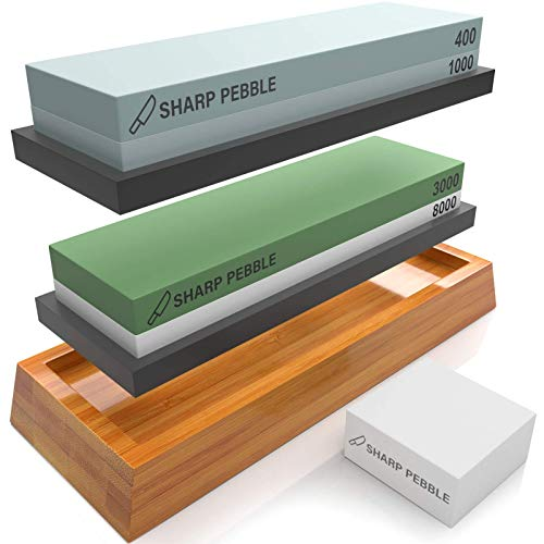 Sharp Pebble Knife Sharpening Stones Kit with 400/1000 and 3000/8000 Grit with Flattening Stone