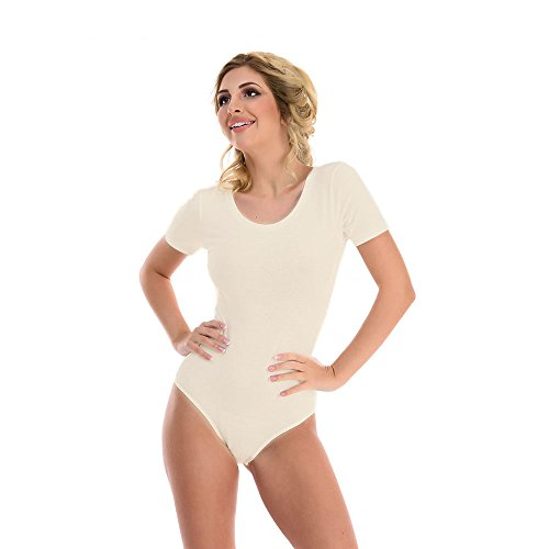 Magi Damenbody mit Kurze Ärmel und Rundhals Damen Tshirt Overall Bodysuit Größen Unterzieh-Body optimale Passform sportlicher Tanz-Body für Frauen (Ecru, M)