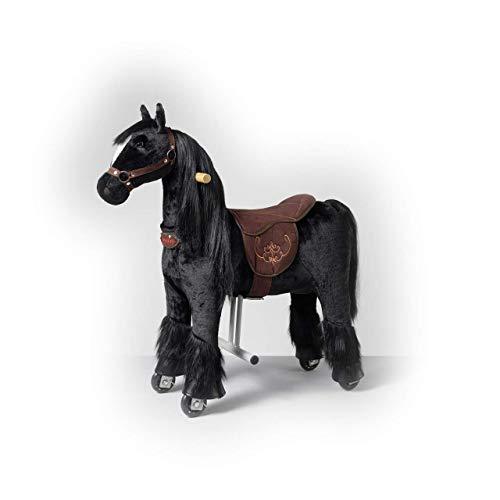 Ponnie - Ebony, Kinder Reitpferd, 3-6 Jahre, S, Pferd auf Rollen, Hochwertiges Reitpferd Ebony aus Plüsch, für drinnen und draußen, geeignet für Kinder ab 3 Jahren, mit Einer kämmenden Mähne