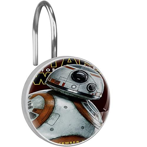 Star Wars BB 8 - Ganchos para cortina de ducha con robot, 12 ganchos de cristal para cortina de ducha, resistentes al óxido, anillos de ducha decorativos para baño