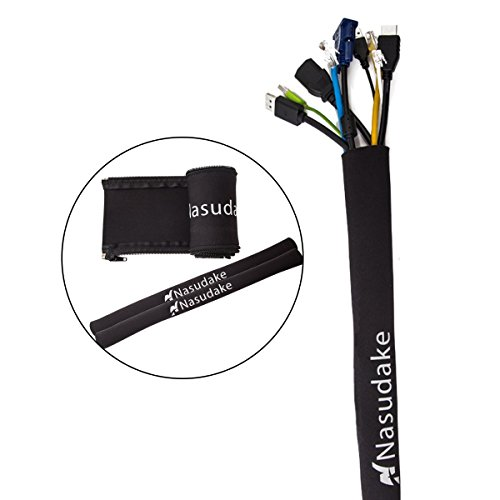 """Pay for 1 you get 3 Nasudake Cable Management Sleeve, 19 1/2""""L -2.0"""" W Flexible Cord Wrap with Zipper, Wire Cover Organizer System for TV, Computer, Home Management and Office (Black)"""