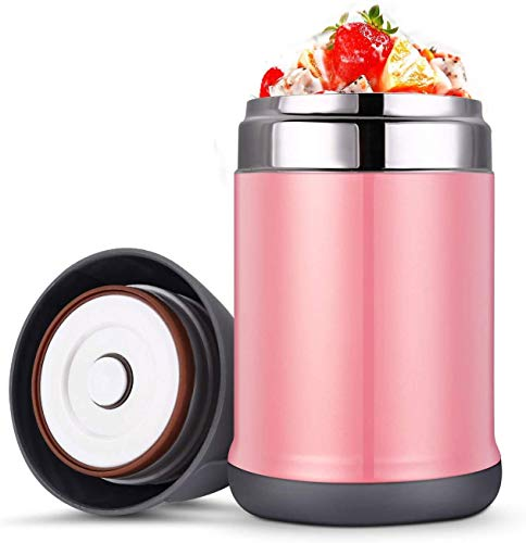 Double Food Jar Insulate'd Lunch Box, Food Thermos, 16 Oz Vacuum Stainless Steel, Leakproof BPA Free, School Office Picnic Camping,Blue (Color : Pink) LATT LIV