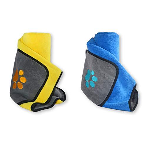 Hundehandtuch Saugfähig Haustier Badetuch 2er-Pack Blau und Gelb 120x70cm(BxH) Weiches Waschbares Haustierhandtuch Schnell Trocknendes Doppel Microfiber Handtuch für Hunde oder Katzen