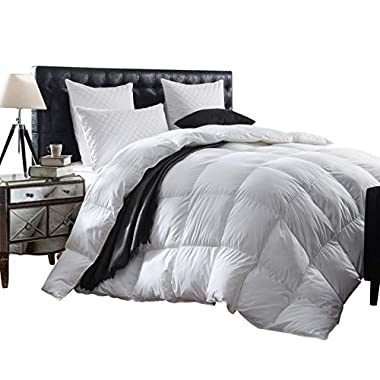 Luxurious 1200 Thread Count Goose Down Comforter Duvet Insert, King Size, 1200TC - 100% Egyptian Cotton Cover, 750+ Fill Power, 50 oz Fill Weight, White Color