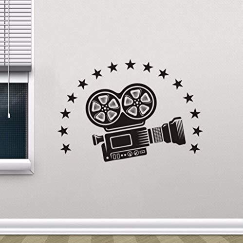 Muursticker 42 x 59 cm videocamera bioscoop decoratie mobiele decoratie kantoor DIY PVC slaapkamer familie waterdicht zelfklevend woonkamer raam