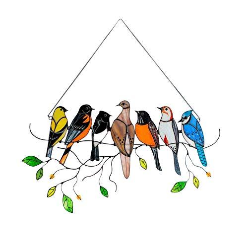 Pájaros multicolores en un alambre Panel de ventana de cazador de sol de vidrieras altas, Colgante de adornos de arte de la serie de aves, Colgante para ventanas, decoración del hogar Seven Birds
