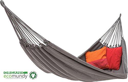 ECOMUNDY Pure Bio XL 380 - Moderne Hängematte - 2 Personen - Anthrazit - handgewebt - Bio Baumwolle - GOTS - 160x260x380 cm - 250 kg -