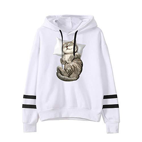 Sudadera de mujer con capucha con estampado de gato a rayas de manga larga jersey delgado ajustado (E-blanco, XL, XL)