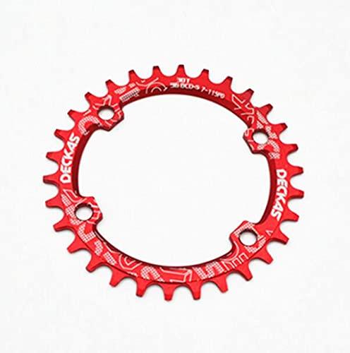 LITOSM Monoplato MTB,Plato de Bicicleta 96bcd 30t Bicicleta de montaña de montaña de 96 mm para 7-11 Velocidad (Color : Red)