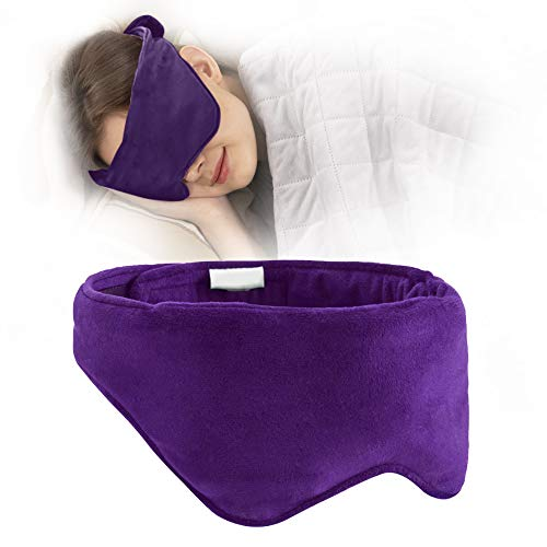 ACOMOPACK Sleep Masks for Women Man,Removable Cooling Gel/Weighted Eye Mask for Sleeping,Block Out Light with Soft Velvet Eye Shade Cover,Purple