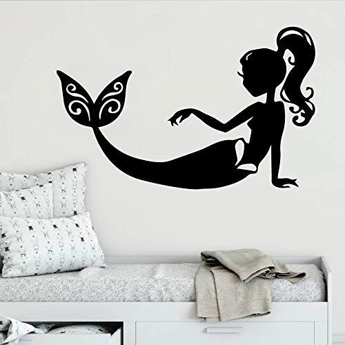 wZUN 2pcs Stylish mermaid self-adhesive vinyl wallpaper decoration movable room 30X47cm