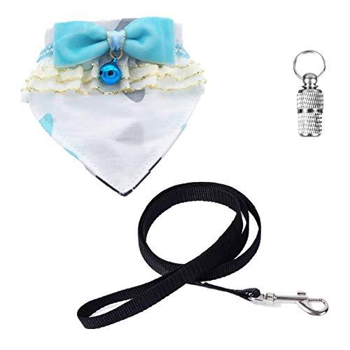 Gousheng halsband voor huisdieren, complete set van 4, 1 x halsdoek voor katten, triangel, drool, handdoek, neckerchief, 1 x linnen, 1 x Id Tag + 1 x hondenbel (S: Hals: 15 -, S: Neck: 15-20cm/5.9-7.87