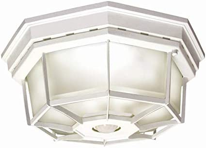 Secure Home 11 9 in W White Motion Activated Outdoor Flush Mount Light product image