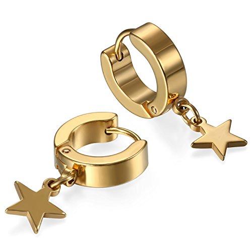 JewelryWe par de acero inoxidable semental aro, aro para hombre luna Dangle Charms pendientes con bisagras pendientes Set, 2pcs (Dorado-b)