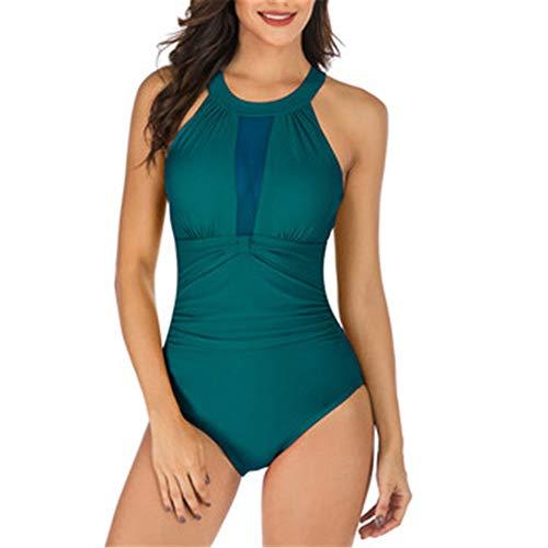 Traje de baño de color sólido triángulo de una sola pieza traje de baño de las señoras cuello colgante de una pieza traje de baño de las mujeres Verde verde oliva S