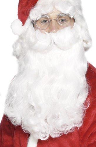 Smiffys Barbe de Père Noël, Blanc, 38cm / 15in, Deluxe