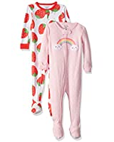 Carter's Baby Girls 2-Pack Cotton Footed Pajamas, Strawberry/Rainbow, 24 Months