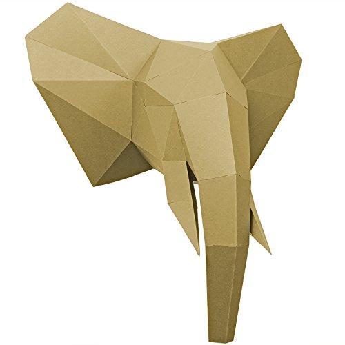 PaperShape Elefant 3D-Papier-Tier-Safari ausgeschnitten, vorgefalzt und ohne kleben - Tierkopf Wand-Deko aus FSC-Papier in 3 Farben Elefanten-Kopf Maße 44 x 43 x 23 cm. Made in Germany (liberate gold)