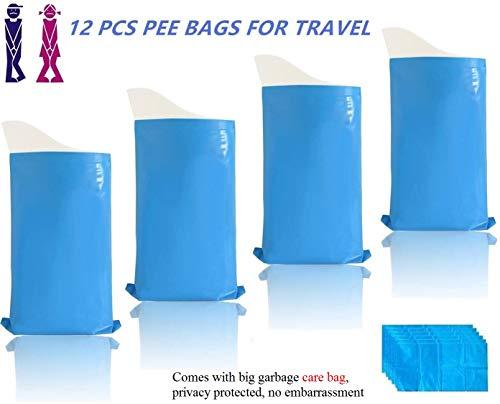 MEANS Urinbeutel, Absorbent Einweg-Gel-Gerät Urinal, für Männer Frauen Unisex Erwachsene, Kinder, für Notfälle, 600ml Große Kapazität, Tragbar, Einfache Lagerung, Kein Geruch, 12 Packs