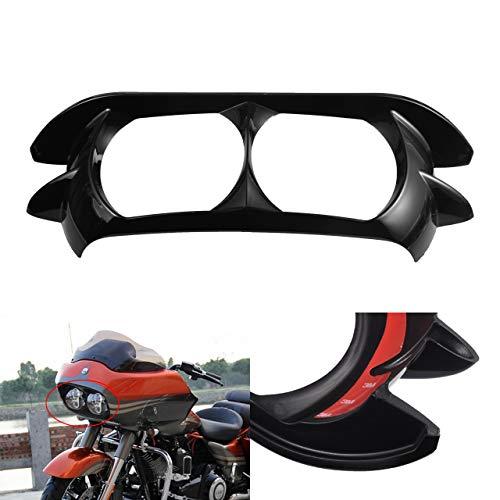 NATGIC - Copertura per fanale Anteriore della Moto, Colore Nero Lucido, per Harley Davidson Road Glide FLTR 2015-2019