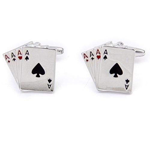 1 Paire Homme Boutons de Manchette Forme de 4A Poker Couleur Argentée