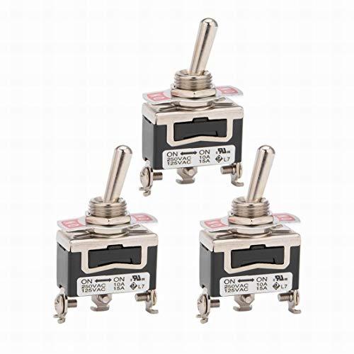 3 uds AC 125V / 15A 250V / 10A ON-ON 2P 3 terminales enclavamiento interruptor de palanca SPDT