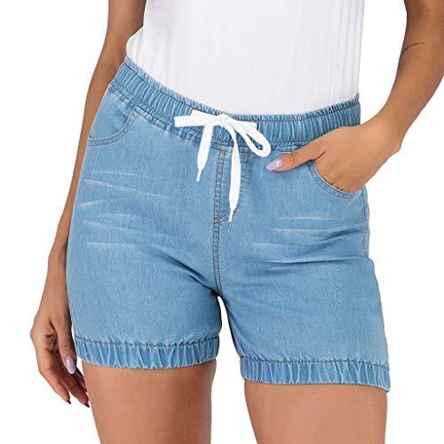 WOZOW Denim Shorts Kurze Hose Damen Jeanshose Solid Einfarbig Schlank Slim Mini Bloomers Vintage Retro Casual High Waist Elastic Kardashian Bermuda Freizeithose Stoffhose (L,hellblau)