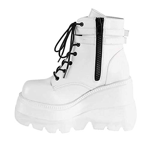 RQWEIN Womens Chunky Platform High Hidden Wedge Fashion Sneaker Wedge Lace Up Chelsea Punk Patent Ankle Boots(White,8
