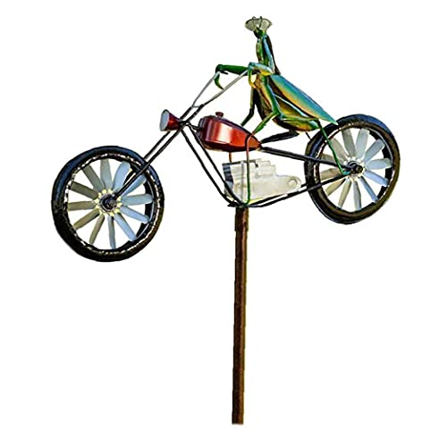 Garden Wind Spinner Vintage Bicycle Cute Mantis Animal Statues Sculptures for Yard Lawn Patio Decoration