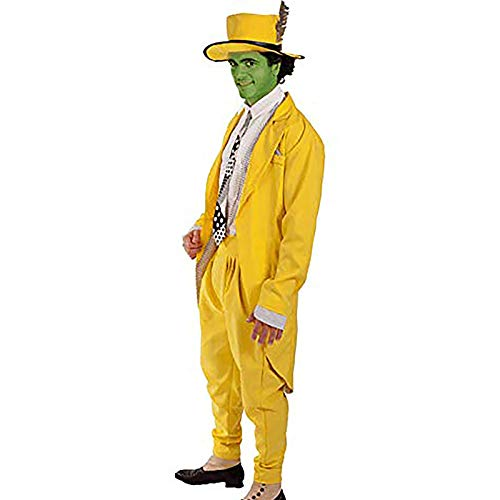 Aiqing Disfraz de Jim Carrey para Hombre The Mask Cosplay Traje Largo Amarillo Traje Elegante de Halloween