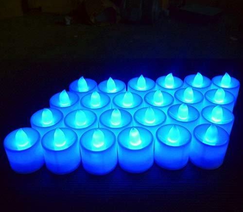 MuLucky 24pcs LED Kerzen Teelicht Batteriebetriebene Flickerlicht Flameless LED Teelicht Teelichter Licht für Hochzeit, Geburtstag, Weihnachten Party Dekoration (Blau)