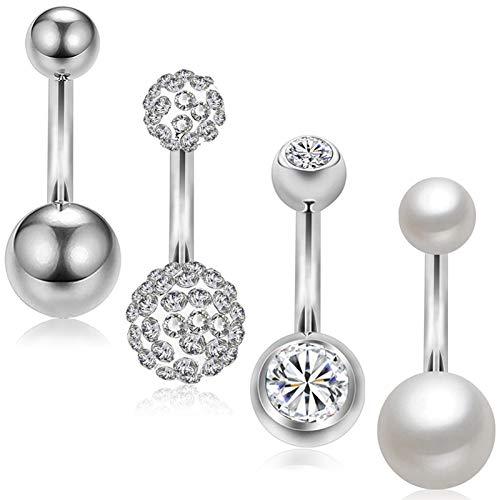 AlllRing Navelpiercing, 4 stuks, exquise zirkonia, kristallen parels, navelpiercing, ringen, navelpiercing, navelpiercing, lichaamssieraad