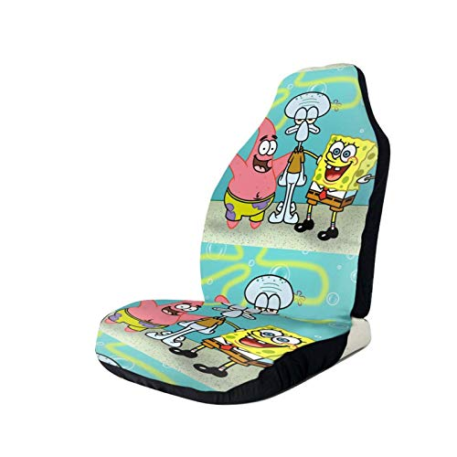 Sponge-Bob and Square-Pants Printed Car Seat Covers Front Seat Protector Cover for Most Car,SUV Sedan & Truck