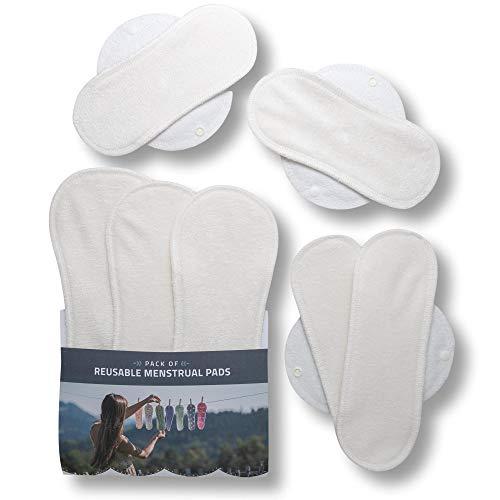Waschbare Stoffbinden aus Bio Bambus, 7er Pack Wiederverwendbare Damenbinden MADE IN EU, Reusable Sanitary Pads, dünn wieder Stoff Binden für Menstruation, Inkontinenz, starke postpartale Blutung