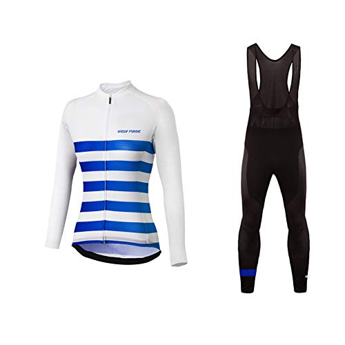 Sports Wear UGLYFROG Thermo Fleece Mujer Chaqueta de Ciclismo De Manga Larga+Pantalones de Acolchado 3D para de Invierno Conjunto de Ropa de Ciclismo de Lana Térmica Raya Diseño