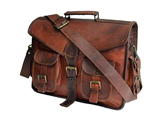 MONTEXOO 15 Inch Leather Messenger Bag for Men Laptop Briefcase Crossbody Satchel Bag (DARK BROWN)