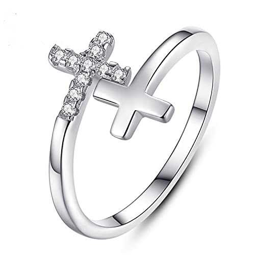 BLINDER Cross Rings for Women, 925 Sterling Silver Ring for Teen Girls to My Daughter Stackable Open Christian Religious Ring, Size 5-8 (Double cross)