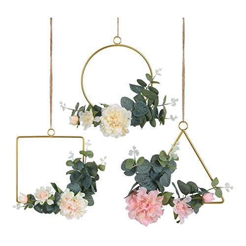 Dcolor Conjunto de Corona de Aro Floral de 3 Flores de PeoníA Artificial y Corona de Vid de Eucalipto para DecoracióN de TelóN de Fondo de Fiesta de Boda