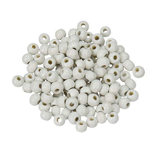 Holz-Perlen weiß, 12 mm, 30 Stück, Efco