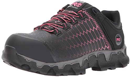 Timberland PRO Women's Powertrain Sport Alloy Safety Toe Shoe,Black Raptek With Pink,8 M US