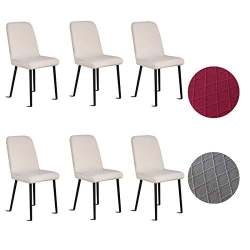 Silingsan Fundas para sillas Pack de 6, Funda para Silla Elástica Funda de Silla Jacquard para Asiento Extraíble y Lavable para Hotel, Ceremonia, Restaurante (Paquete de 6, Beige)