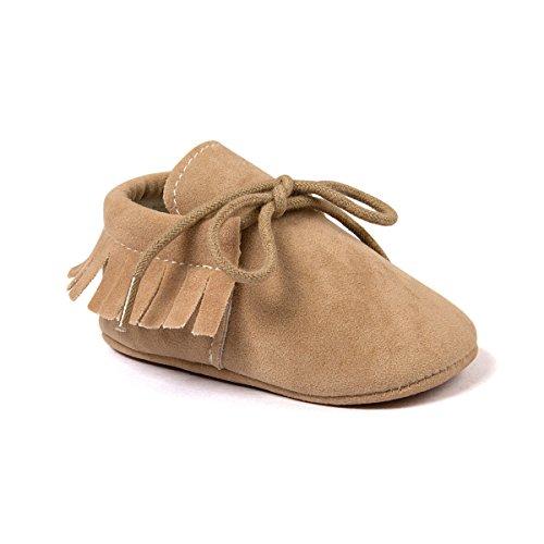 Kuner Toddler Baby Boys Girls Moccasins Tassels Soft Sole Non-Slip First Walkers Shoes (11cm(0-6months), Beige)