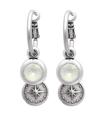 Damen Ohrringe Creolen mit Swarovski Stein und Anhänger Stern Länge ca. 4,4cm Ohrhänger Kristall Ohrstecker Silber nickelfrei