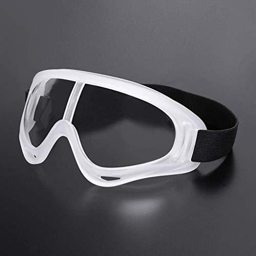 Occhiali di sicurezza con lenti avvolgenti trasparenti, anti-appannamento e resistenti ai graffi, impugnatura antiscivolo, protezione UV.