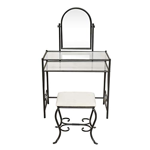 Review Of TiTa-Dong Vanity Table Set,Black Iron Make Up Dressing Table with Make Up Mirror,Storage S...