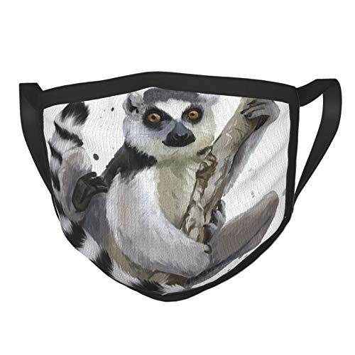 PANILUR Face Cover,A Ring tailed Lemur Watercolor Painting,Balaclava Unisex Reusable Windproof Anti Dust Mouth Bandanas Outdoor Camping Motorcycle Running