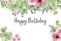 写真撮影のための新しい7x5ftビニールお誕生日おめでとう背景緑の植物の葉ピンクの花自然で新鮮な写真の背景ベビーシャワー男の子女の子大人子供ポートレート写真装飾スタジオ小道具