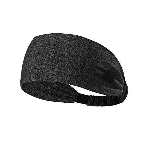 Hanna Roberts Headband with Buttons for Face Masks and Covers, Stretchy and Elastic (Dark Grey)