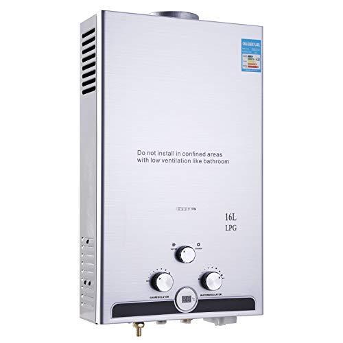 CO-Z 16L Calentador de Gas LPG Montado en la Pared Calentador de Agua de Gas sin Tanque Calentador de Agua Instantáneo a Gas Licuado de Ptroleo Automático (16L)
