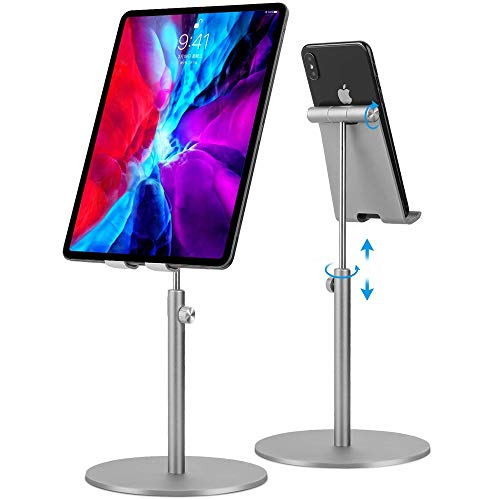 Tablet Stand,Phone Stand For Desk Elegant Stable Aluminum Alloy Angle Height Adjustable Phone Tablet Charging Dock fits 4.7'-12.9' Phone/Tablet/iPad/Switch/Kindle for Home Kitchen Office Desktop